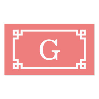 Lt Coral White Greek Key Frame #2 Initial Monogram Pack Of Standard Business Cards
