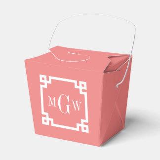 Lt Coral Wht Greek Key #2 Framed 3 Init Monogram Favour Box