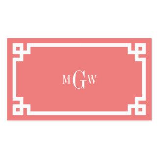 Lt Coral Wht Greek Key #2 Framed 3 Init Monogram Pack Of Standard Business Cards