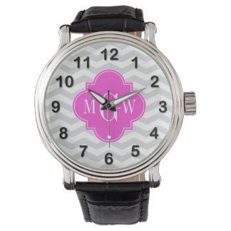 Lt Gray Chevron Hot Pink Quatrefoil 3 Monogram Tn Wristwatch