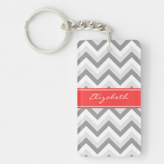 Lt Gray Med Gray White Chevron Coral Name Monogram Double-Sided Rectangular Acrylic Keychain