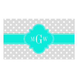 Lt Gray Polka Dots Brt Aqua Quatrefoil 3 Monogram Pack Of Standard Business Cards