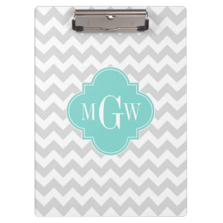 Lt Gray White Chevron Aqua Quatrefoil 3 Monogram Clipboard