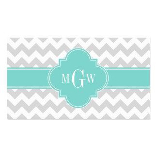 Lt Gray White Chevron Aqua Quatrefoil 3 Monogram Pack Of Standard Business Cards