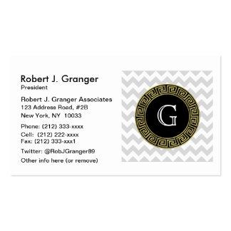 Lt Gray White Chevron Black Greek Key Monogram Pack Of Standard Business Cards