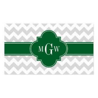 Lt Gray White Chevron Forest Quatrefoil 3 Monogram Pack Of Standard Business Cards
