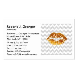 Lt Gray White Chevron, Gold Lipstick Kiss Pack Of Standard Business Cards
