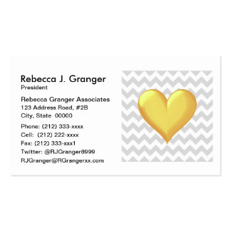 Lt Gray White Chevron Golden Yellow Shaded Heart Pack Of Standard Business Cards