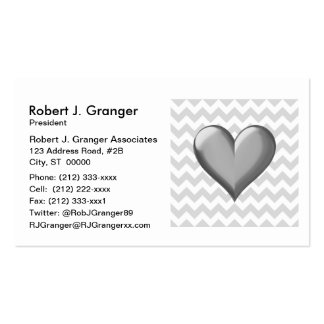 Lt Gray White Chevron Gray Metallic Shaded Heart Pack Of Standard Business Cards