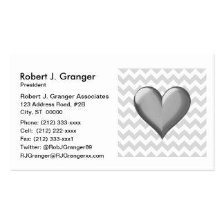 Lt Gray White Chevron Gray Metallic Shaded Heart Pack Of Standard Business Cards