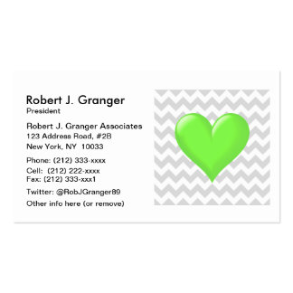 Lt Gray White Chevron Lime Green Shaded Heart Pack Of Standard Business Cards