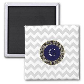 Lt Gray White Chevron Navy Greek Key Monogram Square Magnet