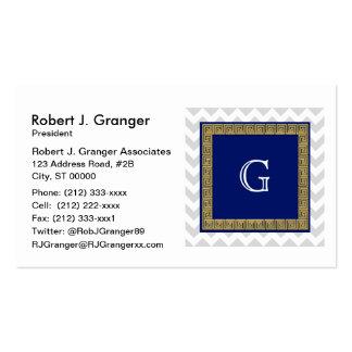 Lt Gray White Chevron Navy SQ Greek Key Monogram Pack Of Standard Business Cards