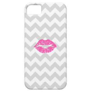 Lt Gray White Chevron, Pink Lipstick Kiss Barely There iPhone 5 Case
