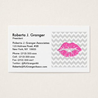 Lt Gray White Chevron, Pink Lipstick Kiss Business Card