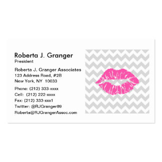 Lt Gray White Chevron, Pink Lipstick Kiss Pack Of Standard Business Cards