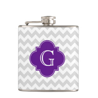 Lt Gray White Chevron Purple Quatrefoil Monogram Hip Flask
