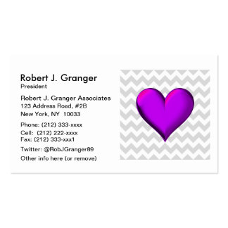 Lt Gray White Chevron, Purple Shaded Heart Pack Of Standard Business Cards