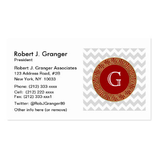 Lt Gray White Chevron Red Greek Key Monogram Pack Of Standard Business Cards