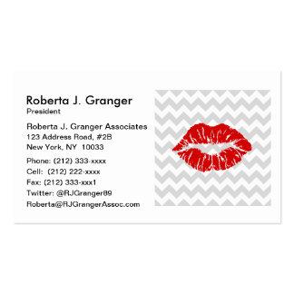 Lt Gray White Chevron, Red Lipstick Kiss Business Card Templates