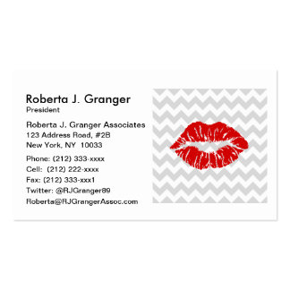 Lt Gray White Chevron, Red Lipstick Kiss Pack Of Standard Business Cards