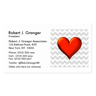 Lt Gray White Chevron, Red Shaded Heart Business Card Template