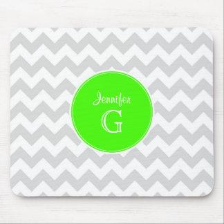 Lt Gray White Chevron Rnd Lime Green Name Monogram Mouse Mat