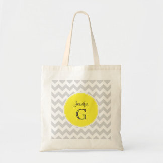 Lt Gray White Chevron Round Yellow Name Monogram B Budget Tote Bag