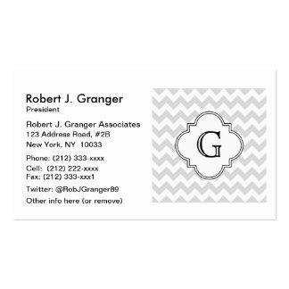 Lt Gray White Chevron White Quatrefoil Monogram Business Card