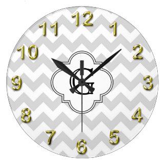 Lt Gray White Chevron White Quatrefoil Monogram Large Clock