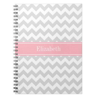 Lt Gray White Chevron Zigzag Pink Name Monogram Notebooks