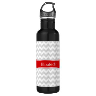 Lt Gray White Chevron Zigzag Red Name Monogram 710 Ml Water Bottle