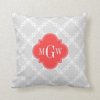 Lt Gray White Fancy Quatrefoil 3 Initial Monogram Cushion