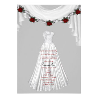 Lt Gray-White Gown Bridal Shower Invitation