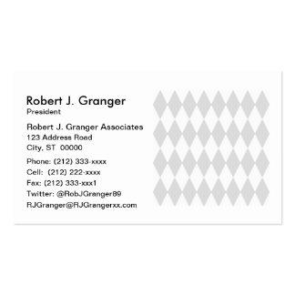 Lt Gray White Harlequin Diamond Pattern Business Card