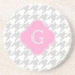Lt Gray White Houndstooth Pink Monogram Label Drink Coaster