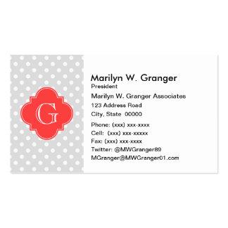 Lt Gray White Polka Dot Coral Quatrefoil Monogram Pack Of Standard Business Cards