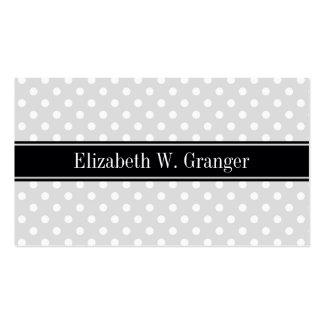 Lt Gray White Polka Dots Black Ribbon Monogram Pack Of Standard Business Cards