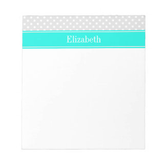 Lt Gray White Polka Dots Brt Aqua Ribbon Monogram Notepads