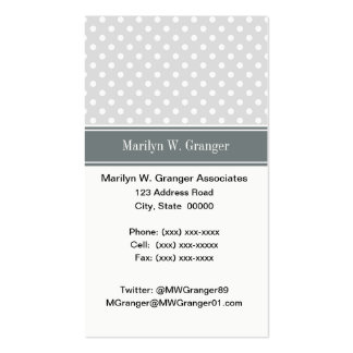 Lt Gray White Polka Dots Charcoal Name Monogram Pack Of Standard Business Cards