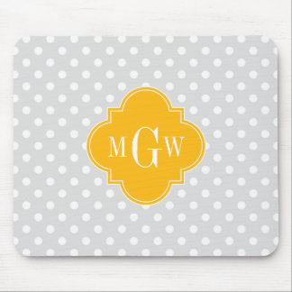 Lt Gray White Polka Dots Goldenrod 3 Monogram Mouse Mat