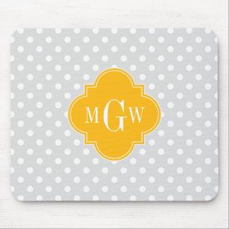 Lt Gray White Polka Dots Goldenrod 3 Monogram Mouse Pad