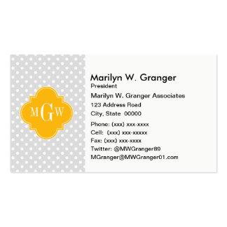Lt Gray White Polka Dots Goldenrod 3 Monogram Pack Of Standard Business Cards