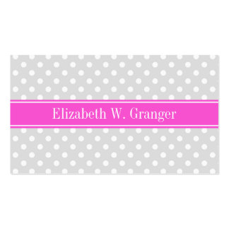 Lt Gray White Polka Dots Hot Pink Name Monogram Business Cards