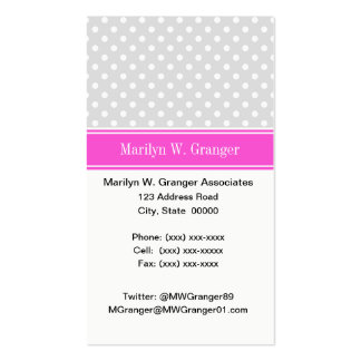 Lt Gray White Polka Dots Hot Pink Name Monogram Pack Of Standard Business Cards
