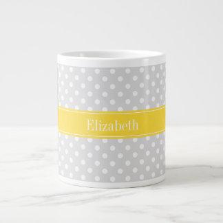 Lt Gray White Polka Dots Pineapple Name Monogram Large Coffee Mug