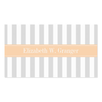 Lt Gray White Stripe Apricot Name Monogram Business Card Template