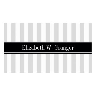 Lt Gray White Stripe Black Name Monogram Business Card Template
