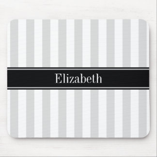 Lt Gray White Stripe Black Name Monogram Mouse Pad