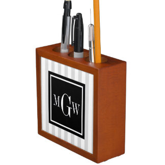 Lt Gray White Stripe Black Square 3 Monogram Desk Organiser